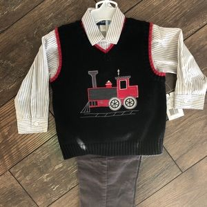 Toddler Boys Button Up Shirt, Vest & Pants Outfit